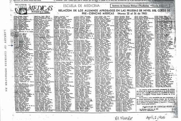 UNA HISTORIA NO CONOCIDA SOBRE EL CURSO DEL AÑO 1965 EN LA ESCUELA DE MEDICINA DE  LA HABANA